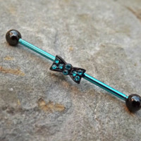 Bow Blue Industrial Barbell 14ga Body Jewelry Ear Jewelry Double Piercing Rhinestone Black Balls