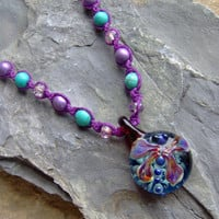 Hemp Jewelry - Hemp Necklace - Glass Dragonfly Necklace - Purple and Turquoise - Macrame - Glass Pendant