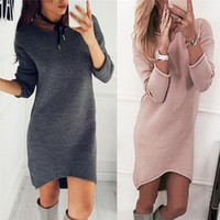 Women Sweaters And Pullovers Long Sleeve Long Knitted Sweater Dress Casual Solid Winter Jumper Pull Femme