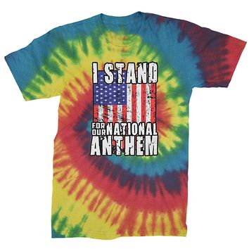 I Stand For Our National Anthem Mens Tie-Dye T-shirt