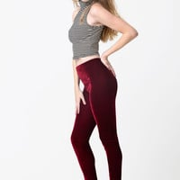 Wine Red Velvet Leggings