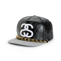 Stussy Lux Black Quilted Strapback Hat