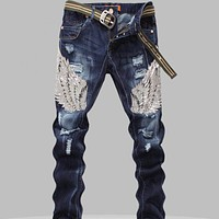 New Mens Jeans Male Eagle Wings Embroidery Stitching Sequins Hole Jeans Slim Pants Tide Mens Robin Jeans 2015