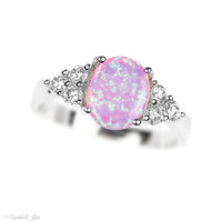 Sterling Silver Light Pink Opal and White CZ Accented Ring