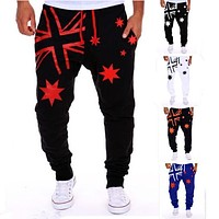 2017 Fashion Mens Joggers Pants Casual Loose Sweatpants Hip-hop Letters Printed Trousers Outwear Joggers Pants Harem Dance Pants