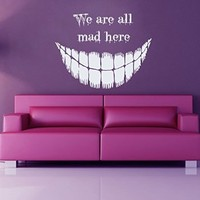 Wall Decor Vinyl Decal Sticker Happy Halloween We Are All Mad Here Kg247