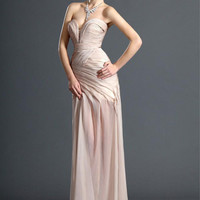 Pearl Pink Sweetheart Neckline Sweep Train Chiffon Prom Dress -SinoSpecial.com