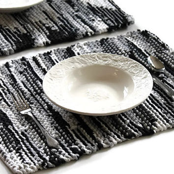 Placemats Black Gray White Cream Ivory Charcoal Grey Retro Modern Knitted Artisan Upcycled TShirts Trivets (set of 2) --US Shipping Included