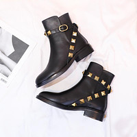 Valentino Trending Women's men Leather Side Zip Lace-up Ankle Boots Shoes High Boots 08055