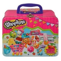 "Shopkins ""Once you Shop,You Can't Stop"" Tin W/ Handle - Plus Bonus 2PK Card Game"