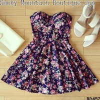 Joana Floral Bustier Dress with Adjustable Straps - Size XS/S/M BD 457 - Smoky Mountain Boutique