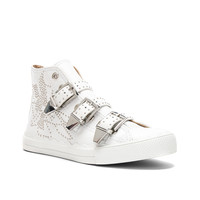 Chloe Kyle Semi-Shiny Calf Leather Buckle Sneakers in White | FWRD