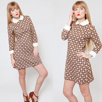 Vintage 70s ARGYLE Mini Dress Long Sleeve MOD Twiggy Scooter Dress