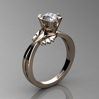Swan 14K Rose Gold 1.0 Ct Russian Ice CZ Fairy Engagement Ring R1030-14KRGRICZ
