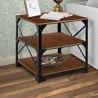 Industrial Style 3 Tier Metal Side End Table with Wooden Shelves, Brown and Bronze
