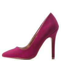 Magenta Single Sole Pointed Toe Pumps by Charlotte Russe