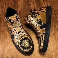 Versace new high-top shoes men's canvas sneakers