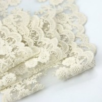 "Wholeport 3.9"" Beige Lace Trim Cotton Embroidery Wedding Fabric By the Yard"
