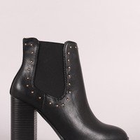 Bamboo Studded Elastic Gore Chunky Heeled Ankle Boots