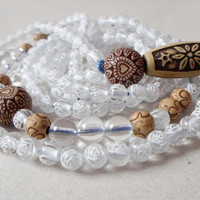 White Large Boho Chic Necklace, Long Beaded Necklace, Hippie Ethnic Necklace, Eco friendly necklace, Bohemian Gift for her, Gift for teens