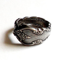 Vintage Spoon Ring International Deep Silver Plate Flower Floral Size 6.5