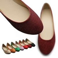 ollio Womens Shoes Ballet Glitter Basic Cute Comfort Multi Colored Flats