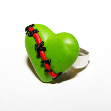 Zombie stiched heart adjustable Ring