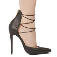 Lust For Life Kiss Me Pump in Black Leather