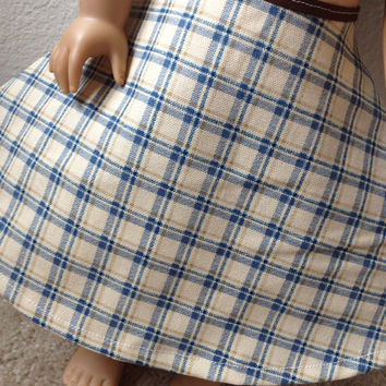 Blue, Tan, and Brown Plaid skirt : fits most 18 in dolls