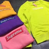 SUPREME Fashion Casual Embroider round collar Long Sleeve sweater-2