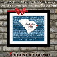 Custom Song Lyrics Wedding Customized Map Personalized Art Print Wedding Gift Engagement Gift Words Quotes Phrases Heart 8x10 Present Fiance
