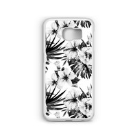 Phone Case Black and White Hibiscus Floral Pattern for Samsung Galaxy S4, S5, S6, S6 EDGE, S6 EDGE Plus, S7 and S7 EDGE