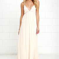 Explore Every Avenue Light Beige Maxi Dress