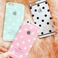 Newest Fashion Luxury Cute Candy Colors Dot TPU Phone Cases Back Covers For Apple iphone 6  For iphone6  6 Plus Case SJK-56