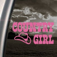 Country Girl US Cow Girl Pink Decal Truck Window Pink Sticker