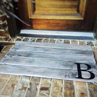 Doormat, Wood, Monogram, Custom Distressed Finishes: ANTIQUED LIGHT GREY shown - Free Shipping