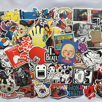50pcs/lot DIY Fashion Trend Funny Doodle Kuso Waterproof Colorized Decal Skin Stickers Toys For Laptop/Luggage/Phone/Car.