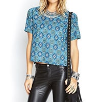 FOREVER 21 Boxy Abstract Geo Print Blue/Purple