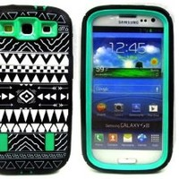 Thinkcase Unique Tribal Stylish Design Hard Soft High Impact Hybrid Armor Defender Case Combo for Samsung Galaxy S3 i9300 (Green) with Thinkcase Stylus Pen