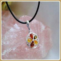 Success & Protection Baltic Amber Sterling Silver Pendant Necklace