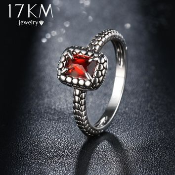 17KM Square Cubic Zircon Anniversary Rings Summer Style Vintage Crystal Jewelry Female Antique Color Geometric Ring For Women