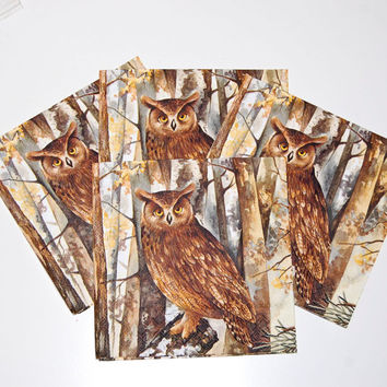 Decoupage Brown Owl Napkin - 4 LargePaper Napkins for Decoupage, Collage, Scrapbooking and Paper Craft Projects