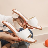 Fashionable personality ladies casual flip-flop round heel sandals and slippers White