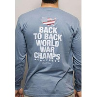 Back to Back World War Champs Long Sleeve Tee with America Silhouette in Navy by Rowdy Gentleman