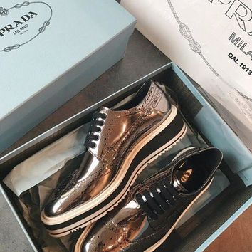 Prada Leather laced Derby shoes