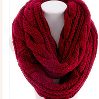 Knit Scarf  Knitted  Infinity Scarf Red Ivory Tan Knit  Scarf  Back to School  Women Scarves Winter  Scarf  - By PiYOYO
