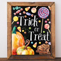 Trick or treat, Halloween, print, printable, decor, fall,  pumpkin, happy Halloween, wall art, Halloween decoration, Halloween poster