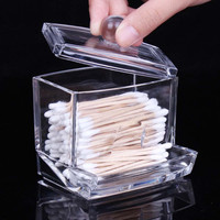 Best prices Acrylic Cotton Swab Organizer Box Portable Container Storage Case Make up Cotton & Pad Box For Home Hotel Office