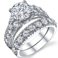 Solid Sterling Silver 925 Engagement Ring Set Bridal Rings with High Quality Cubic Zirconia