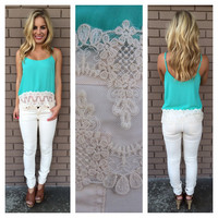 Mint Dita Lace Tank